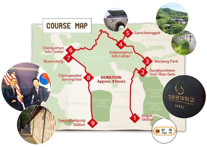 Hiking Seoul fortress walls course map
