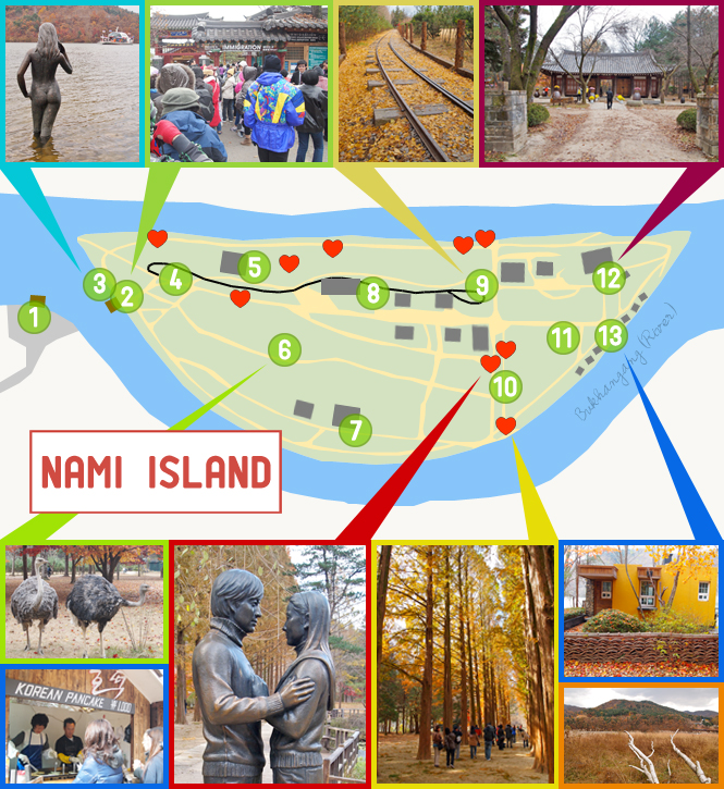 Nami Island Map and places you should visit