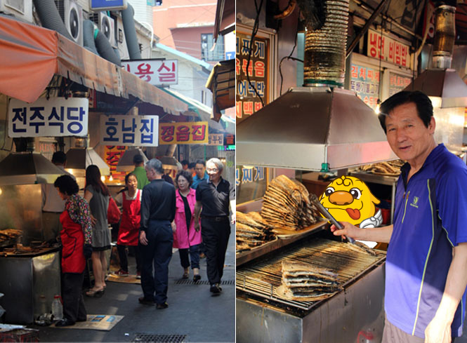 The view of the Saengseon-gui Alley and The owner of the Daeseong Jip restaurant