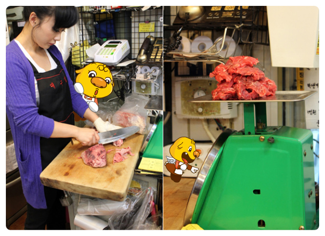 The owner is preparing the meat to be served