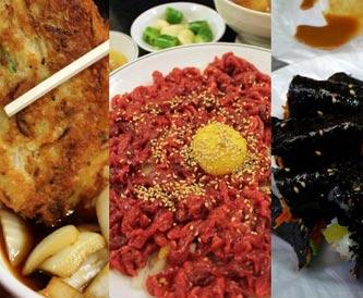 廣藏市場煎餅、生拌牛肉、麻藥紫菜包飯美食街
